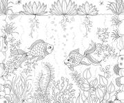 Coloring pages Garden and Fish
