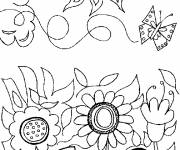 Coloring pages Garden and sunny day
