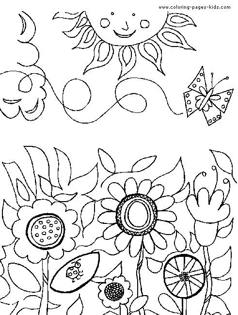 Free coloring and drawings Garden and sunny day Coloring page