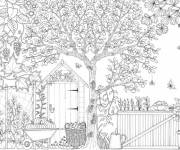 Coloring pages Garden difficult to color