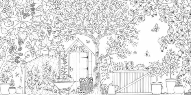 Free coloring and drawings Garden difficult to color Coloring page