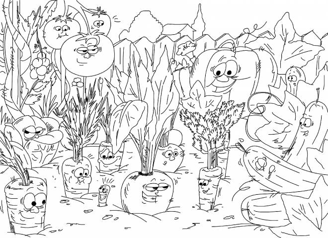 Free coloring and drawings Humorous vegetables Coloring page