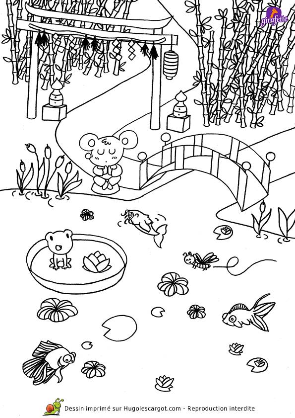 Free coloring and drawings Japanese garden Coloring page