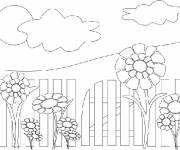 Coloring pages Sunflower in the garden
