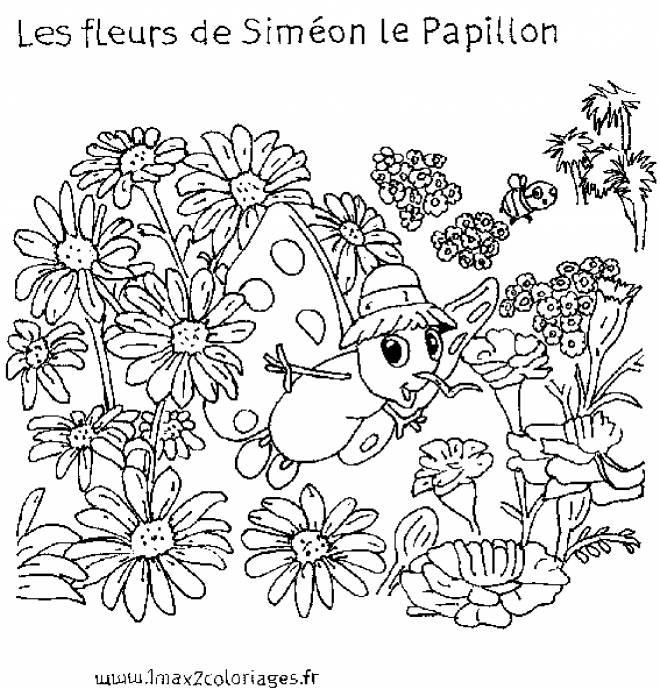 Free coloring and drawings The Flowers of Simeon the Butterfly Coloring page
