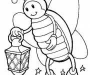 Coloring pages Insect in the garden at night