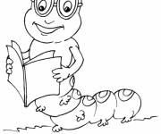 Coloring pages Insect reading a book