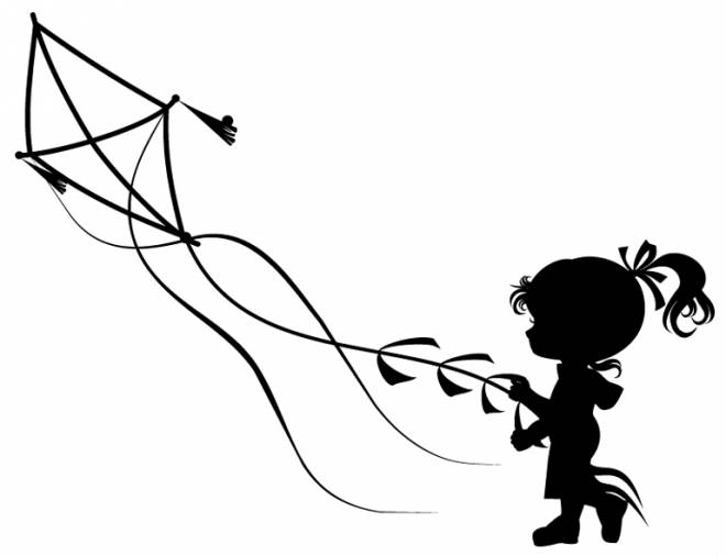 Free coloring and drawings A little girl with the kite Coloring page