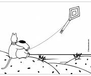 Coloring pages Animals and their Kite