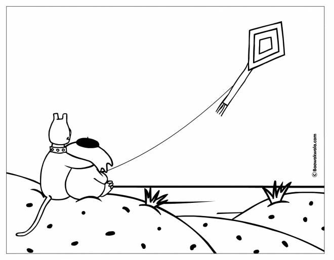 Free coloring and drawings Animals and their Kite Coloring page