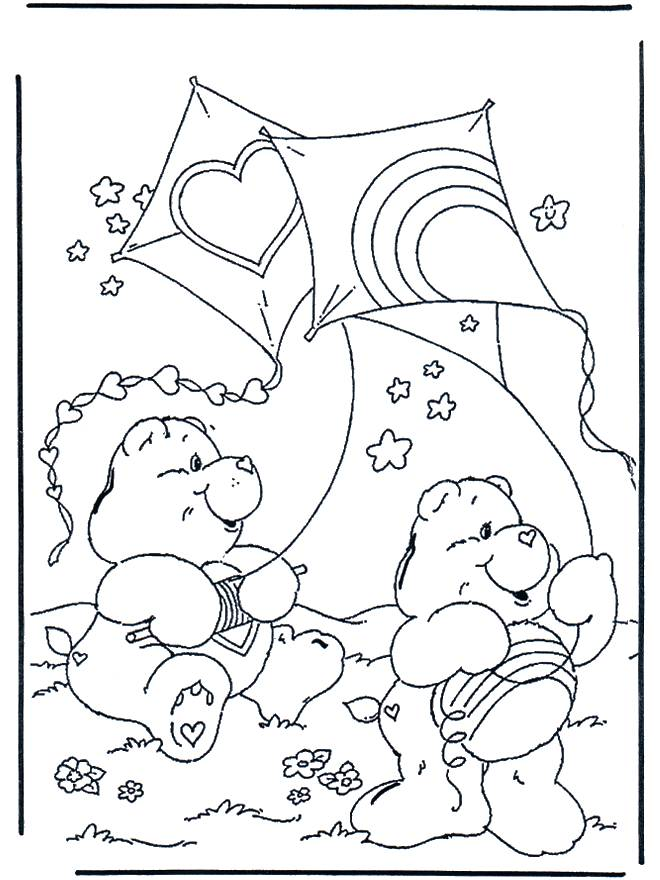 Free coloring and drawings Bear and The Kite Coloring page