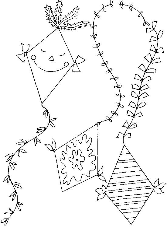 Free coloring and drawings Beautiful kite Coloring page