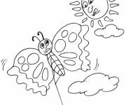 Coloring pages Butterfly kite