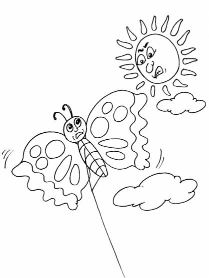 Free coloring and drawings Butterfly kite Coloring page