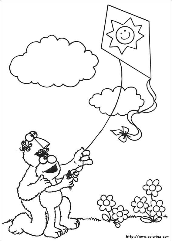 Free coloring and drawings Cartoon kite Coloring page
