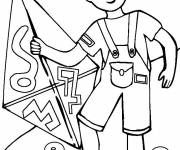 Coloring pages Child and his Kite