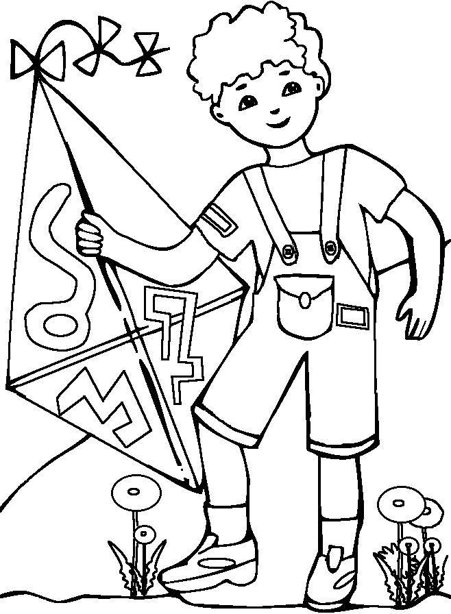 Free coloring and drawings Child and his Kite Coloring page