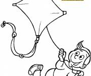Coloring pages Child-controlled kite