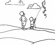 Coloring pages Child flying The Kite