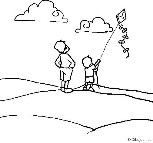 Free coloring and drawings Child flying The Kite Coloring page