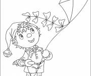 Coloring pages Child tries to fly the kite