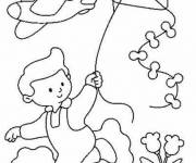 Free coloring and drawings Child with the Kite Coloring page