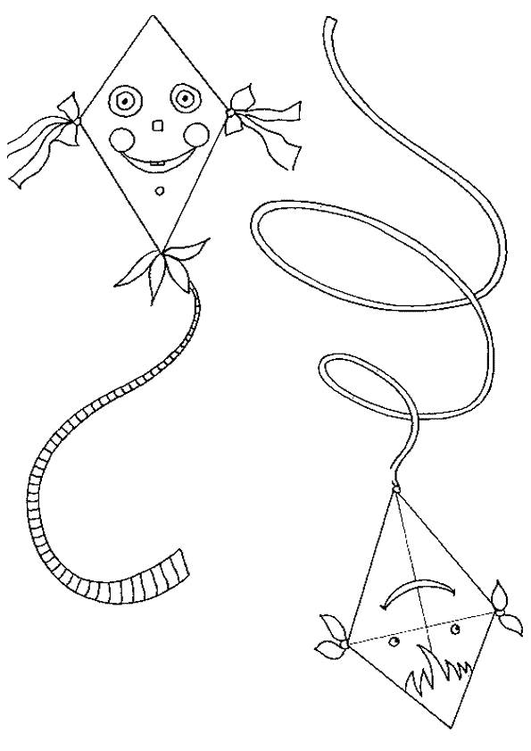 Free coloring and drawings Colored kites Coloring page