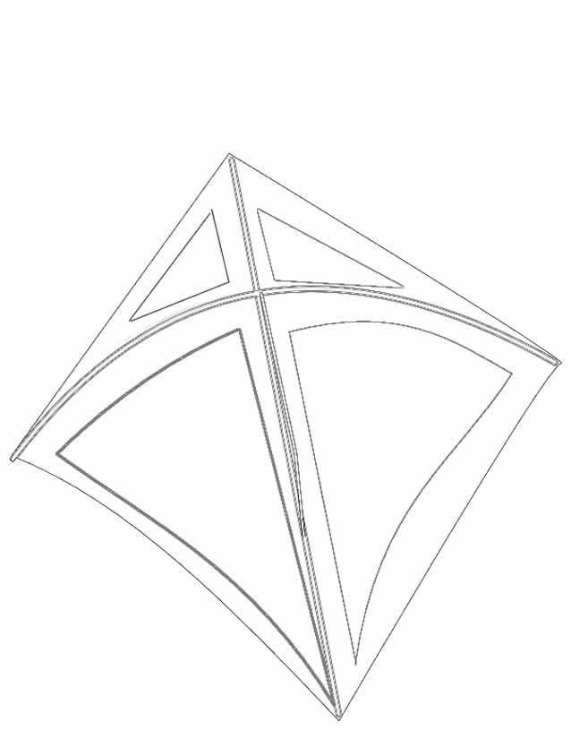 Free coloring and drawings Colored stylized kite Coloring page