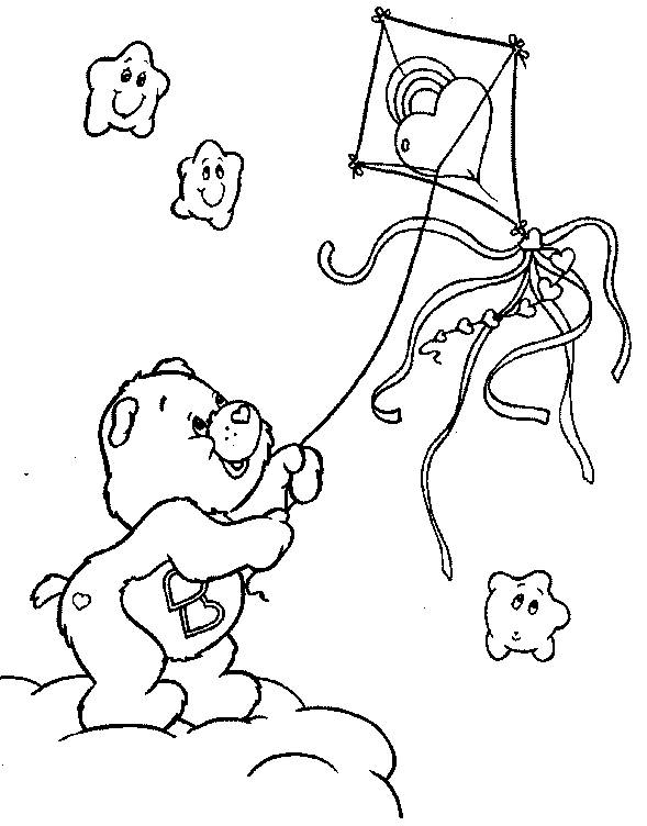 Free coloring and drawings Cute bear and his kite Coloring page