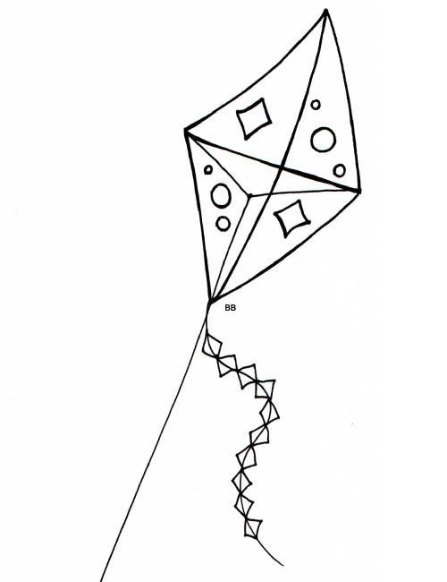 Free coloring and drawings Cutting kite Coloring page