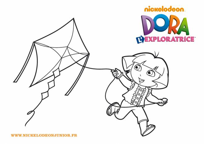 Free coloring and drawings Dora and Kite Coloring page