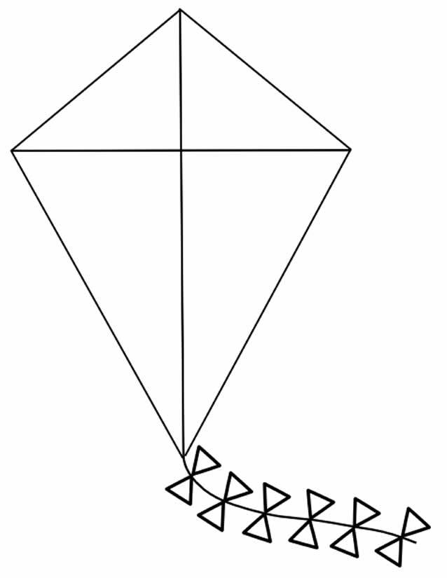Free coloring and drawings Easy kite Coloring page
