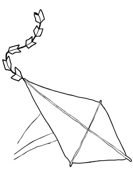 Free coloring and drawings Falling kite Coloring page