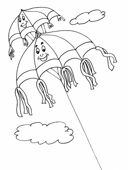 Free coloring and drawings Fantastic kite in the sky Coloring page
