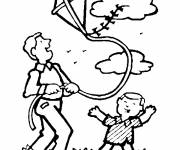 Coloring pages Father and his little kite flying