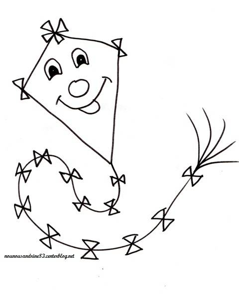 Free coloring and drawings Funny kite Coloring page