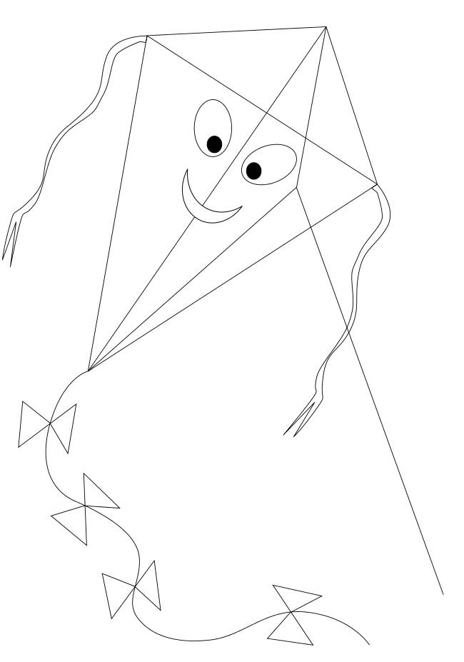 Free coloring and drawings Happy kite Coloring page