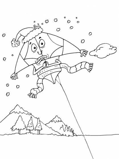 Free coloring and drawings Humorous kite Coloring page