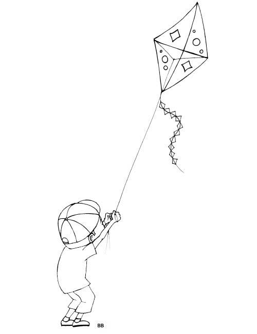 Free coloring and drawings Kite and Child Coloring page