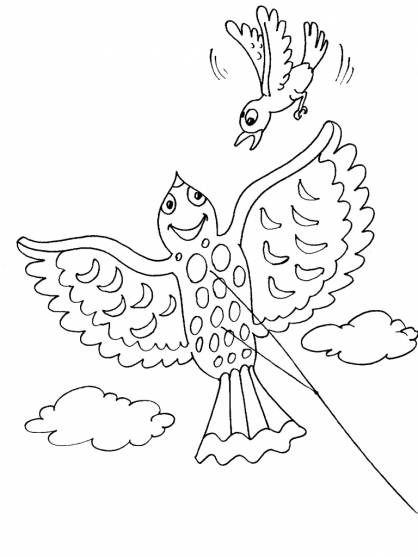 Free coloring and drawings Kite and The Bird Coloring page