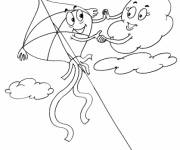 Coloring pages Kite and The Clouds