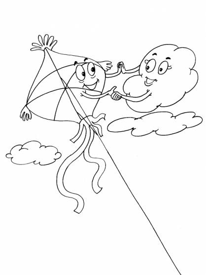 Free coloring and drawings Kite and The Clouds Coloring page