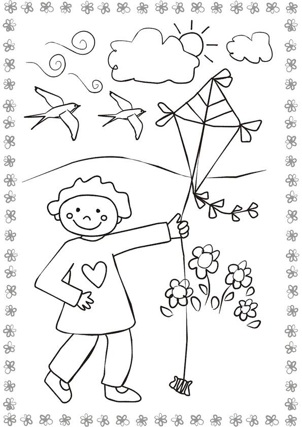 Free coloring and drawings Kite in Nature Coloring page
