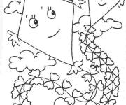 Free coloring and drawings Kite in the sky Coloring page