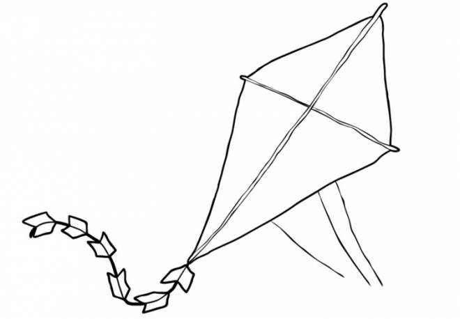 Free coloring and drawings Kite object of children Coloring page