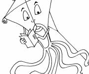 Coloring pages Kite reading