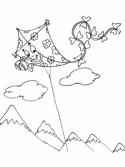 Free coloring and drawings Kite with binoculars Coloring page