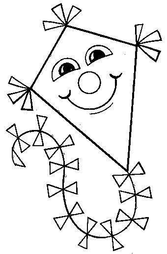 Free coloring and drawings Kite with happy face Coloring page