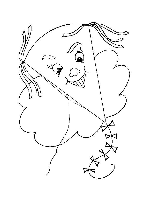 Free coloring and drawings Merry kite in the sky Coloring page