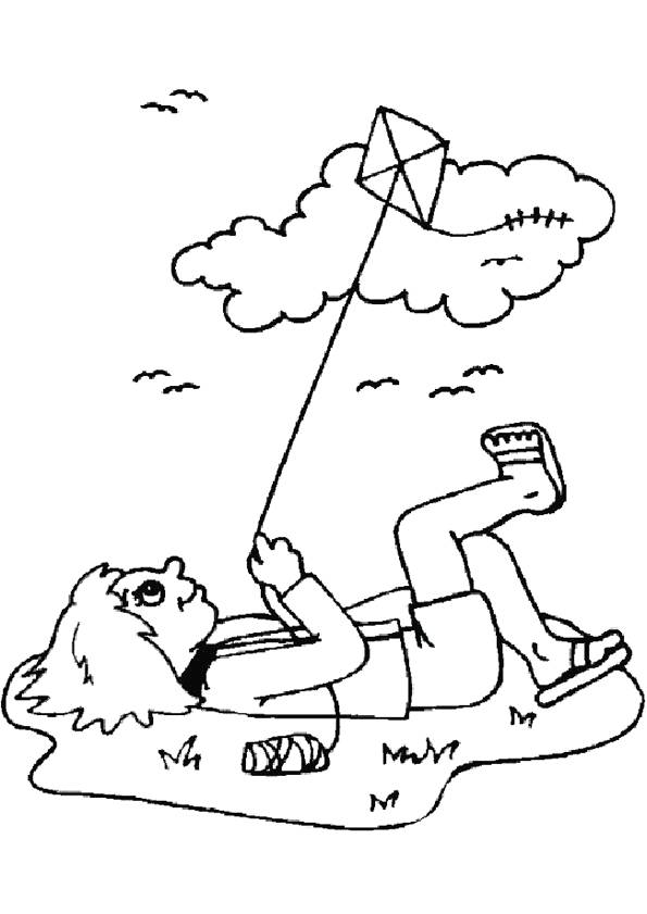 Free coloring and drawings Outdoor kite Coloring page